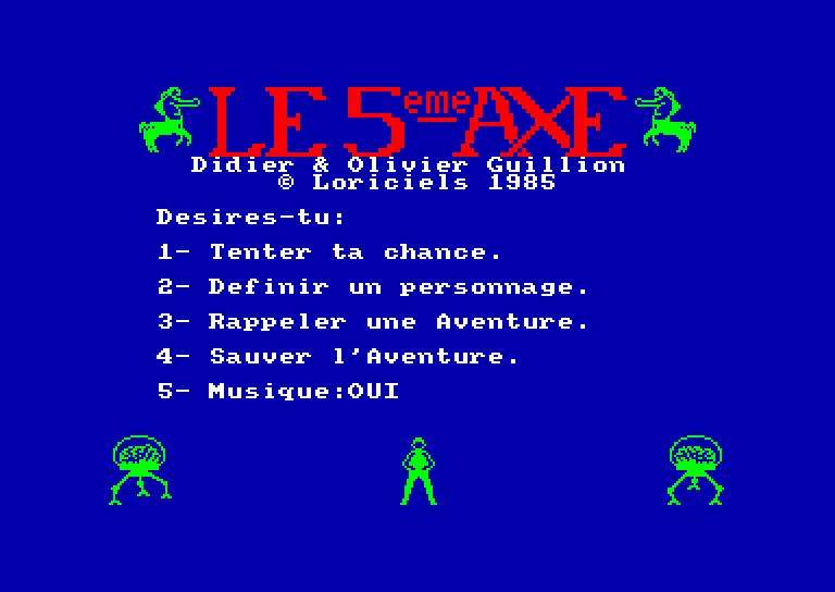 screenshot of the Amstrad CPC game 5eme axe (le)