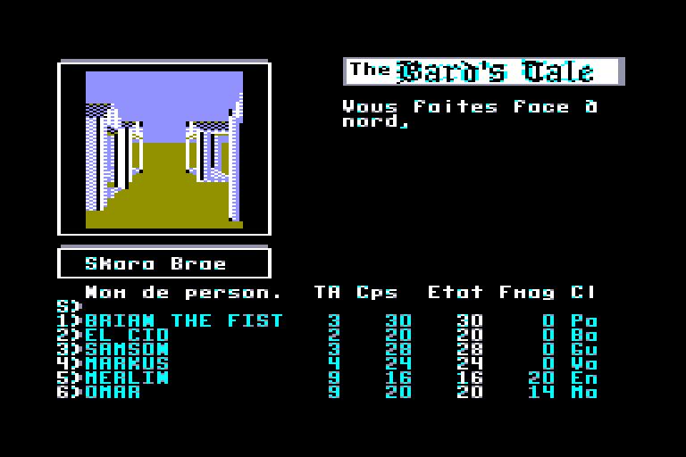 screenshot of the Amstrad CPC game Bard's tale (the)
