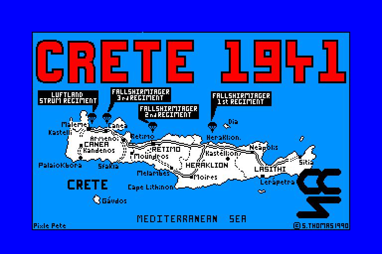 screenshot of the Amstrad CPC game Crete 1941