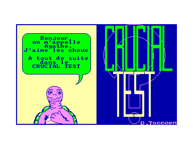 screenshot of the Amstrad CPC game Crucial Test