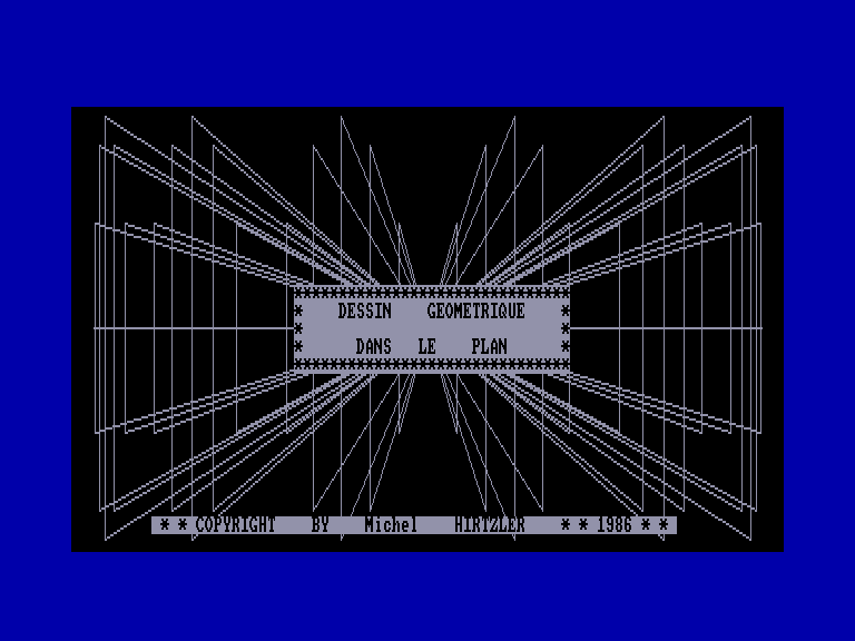 screenshot of the Amstrad CPC game Dessin Geometrique Dans Le Plan
