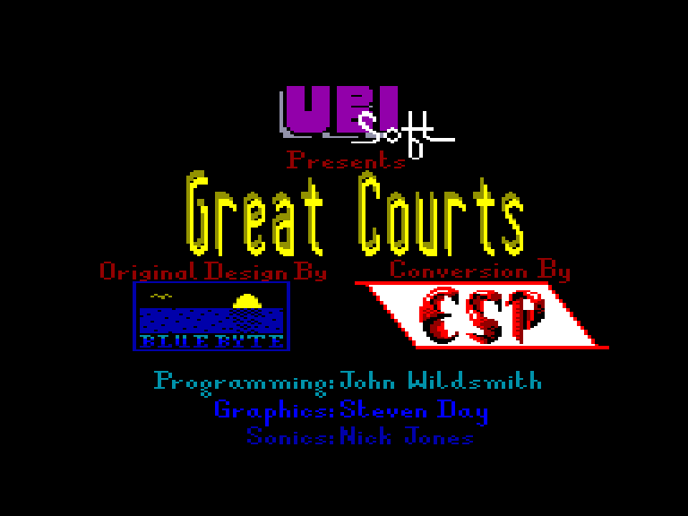 screenshot of the Amstrad CPC game Great courts