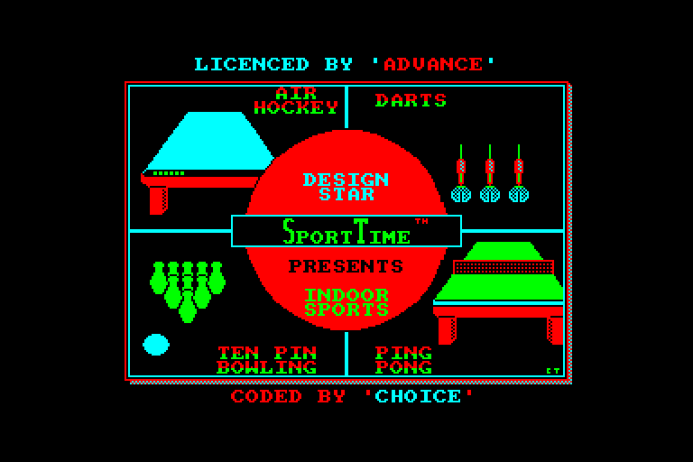 screenshot of the Amstrad CPC game Indoor sports
