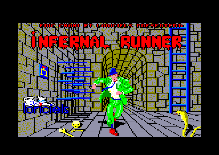 screenshot of the Amstrad CPC game Infernal Runner