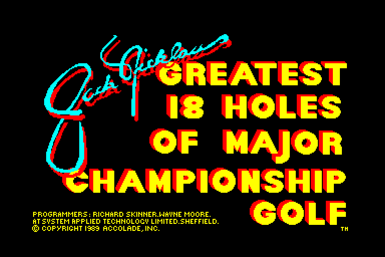 screenshot of the Amstrad CPC game Jack Nicklaus' Greatest 18 Holes of Major Championship Golf