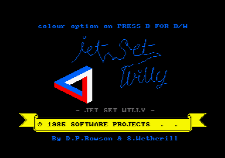 loading screen of the Amstrad CPC game Jet Set Willy