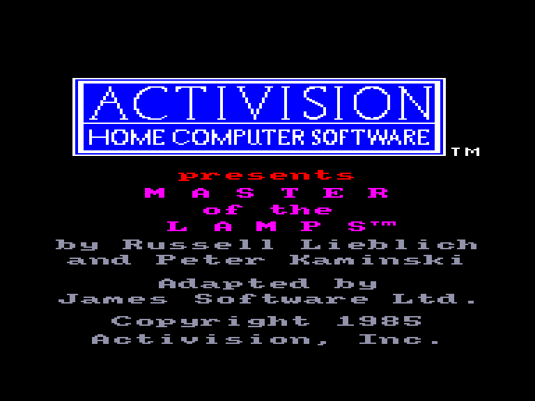 screenshot of the Amstrad CPC game Master of the lamps