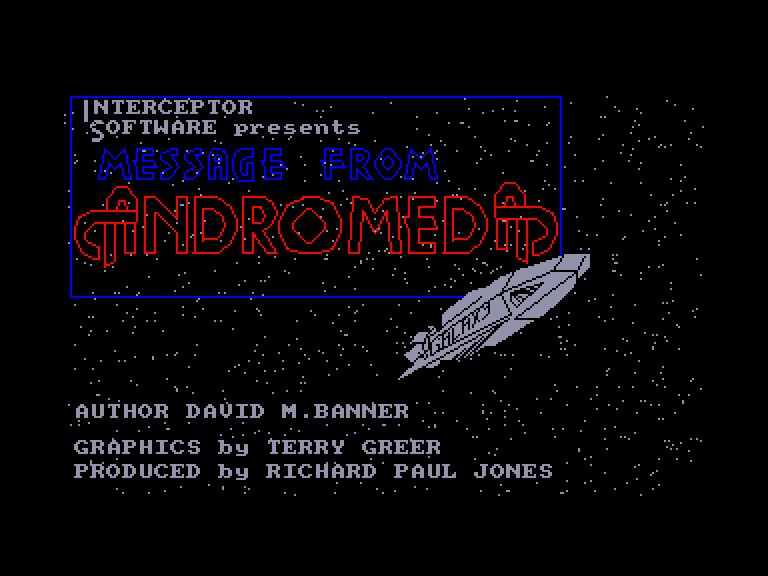 screenshot of the Amstrad CPC game Message from andromeda