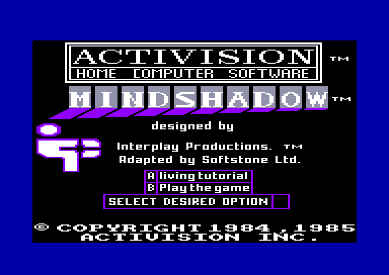 screenshot of the Amstrad CPC game Mindshadow