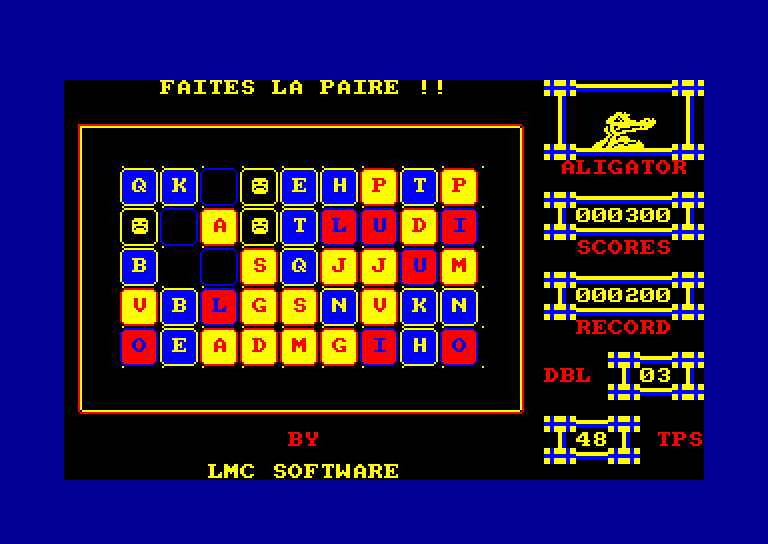 screenshot of the Amstrad CPC game Paire
