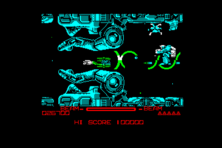 game screenshot of the original R-Type on Amstrad CPC