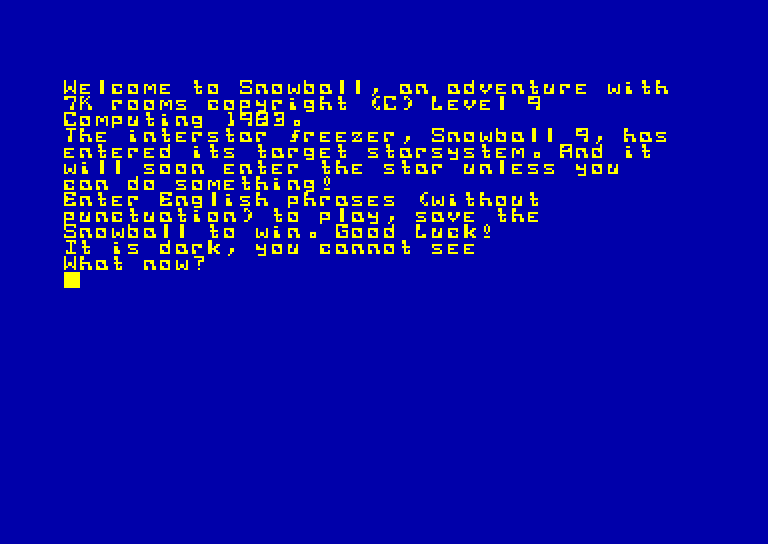 screenshot of the Amstrad CPC game Snowball