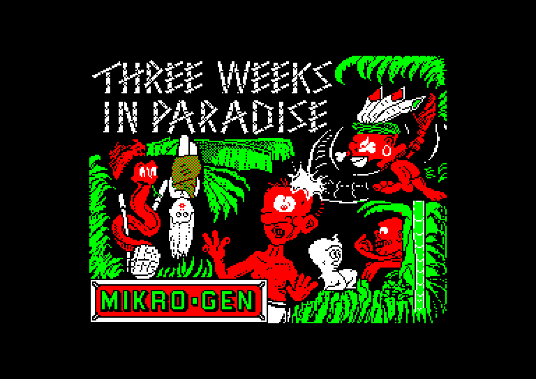 screenshot of the Amstrad CPC game Three weeks in paradise