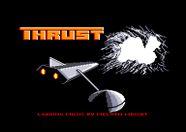 loading screen of the Amstrad CPC game Thrust by Firebird in 1986