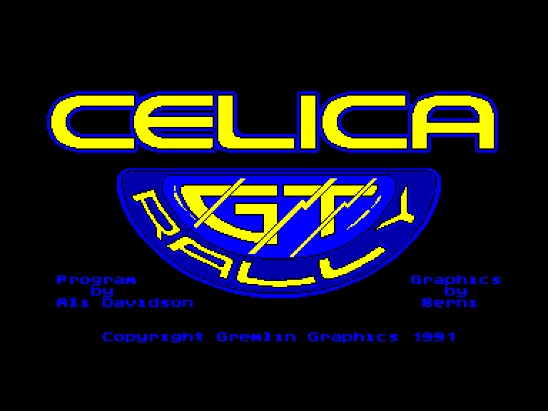 screenshot of the Amstrad CPC game Toyota Celica GT Rally