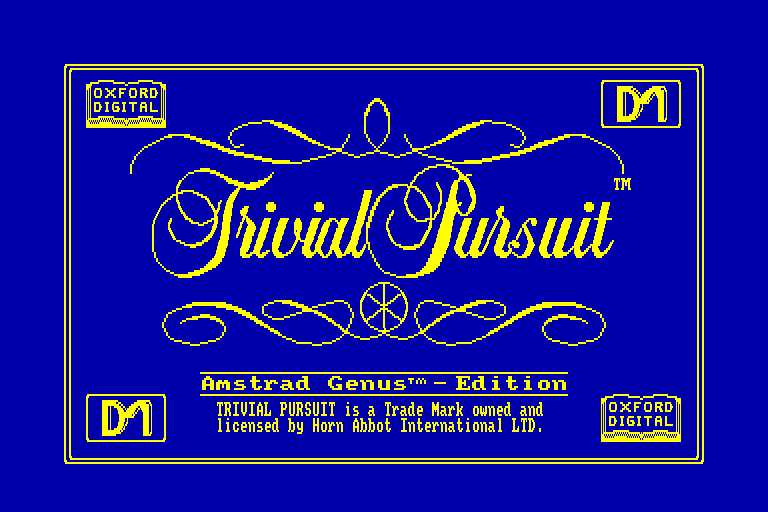 screenshot of the Amstrad CPC game Trivial Pursuit - Genus Edition