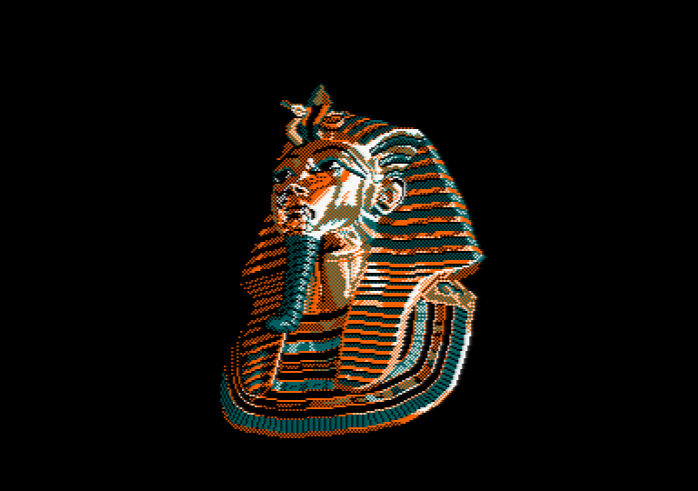 Toutankhamon's mask by Jill Lawson, mode 1 picture on an Amstrad CPC