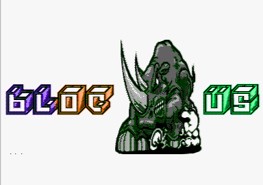 title screen of the Bloc us Amstrad CPC demo